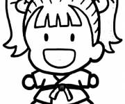 Coloring pages Cute judoka