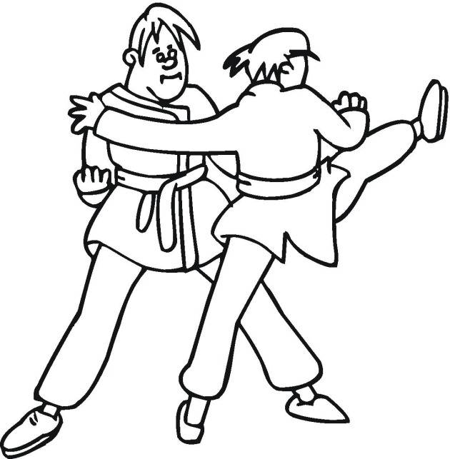 Free coloring and drawings A Karate Fight for children Coloring page
