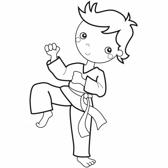 Free coloring and drawings A little vector karate player Coloring page