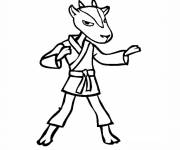 Free coloring and drawings Cartoon goat karate Coloring page