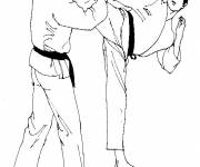 Free coloring and drawings Easy Karate Coloring page