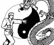 Coloring pages Judoka and The Dragon