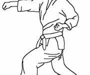 Free coloring and drawings Karate player Coloring page