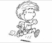 Coloring pages Little boy running