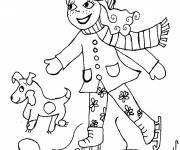 Coloring pages Little girl and her dog skate