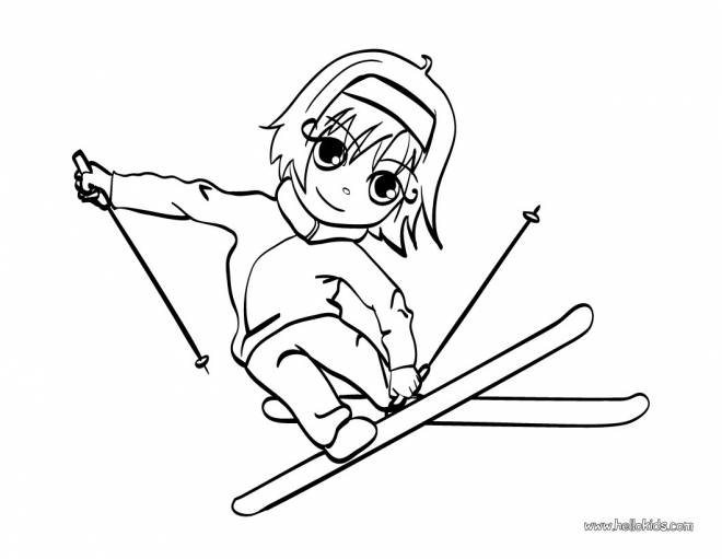 Free coloring and drawings A Little Skier Coloring page