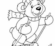 Free coloring and drawings Bear Skier Coloring page
