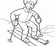 Free coloring and drawings Child and Ski Coloring page