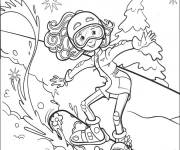Free coloring and drawings Girl is Skiing Coloring page