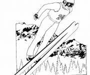 Free coloring and drawings Ski jump in the air Coloring page