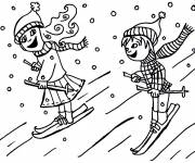Free coloring and drawings Skiers in the snow Coloring page