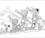 Free coloring and drawings The Ski family Coloring page