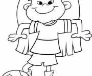 Coloring pages A child  as a Soccer Player