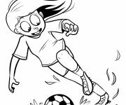 Coloring pages Girl plays soccer