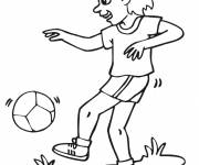 Coloring pages Soccer player dribbles the ball