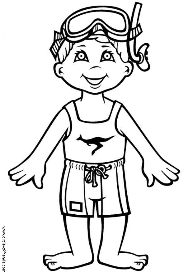 Free coloring and drawings A cute little swimmer Coloring page
