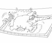 Free coloring and drawings Elephant swimmer Coloring page