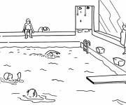 Coloring pages Swimming in the pool