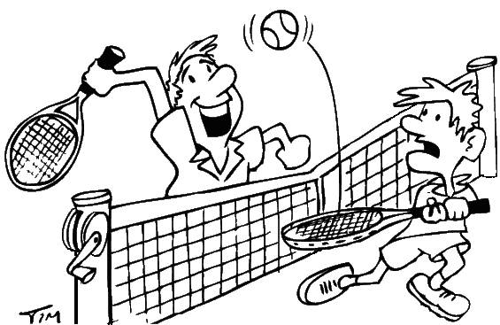 Free coloring and drawings A funny tennis match Coloring page
