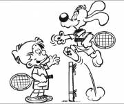 Free coloring and drawings A Tennis Match between Child and Dog Coloring page
