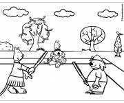 Free coloring and drawings Animals and the Tennis Match Coloring page
