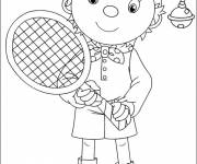 Free coloring and drawings Cartoon tennis player Coloring page