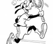 Free coloring and drawings Goofy plays Tennis Disney Coloring page