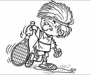 Free coloring and drawings Humorous tennis player Coloring page