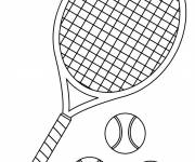Coloring pages Racket and 3 tennis balls