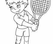 Coloring pages The Boy is playing Tennis
