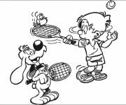 Free coloring and drawings The Dog Playing Tennis Coloring page