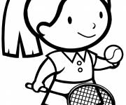 Free coloring and drawings The girl plays tennis Coloring page