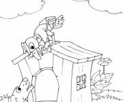 Coloring pages A postman bird passes a letter to a dog
