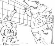 Coloring pages Elephants playing Volleyball