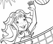 Coloring pages Girl playing volleyball in the sun