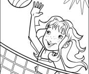 Coloring pages Girl plays volleyball on the beach