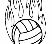 Coloring pages Volleyball ball on fire