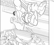 Coloring pages Avengers Hulk jumping
