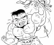 Coloring pages Avengers Hulk in combat
