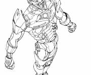 Coloring pages Iron Man flying