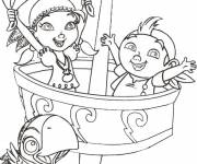 Coloring pages Jack and Izzy on The Pirate Ship