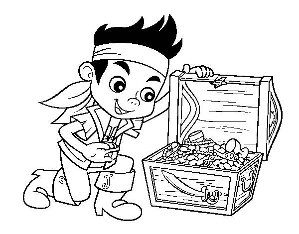 Free coloring and drawings Jack and the Pirates and The Treasure Coloring page