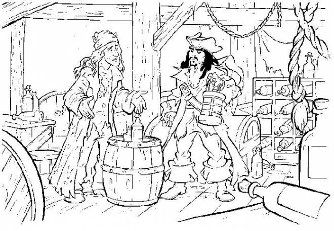 Free coloring and drawings Jack and the Pirates of the Caribbean Coloring page