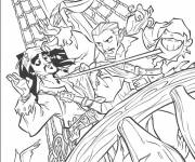 Coloring pages Scene from Jack and the Pirates of the Caribbean