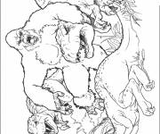 Coloring pages King Kong and The Dinosaur