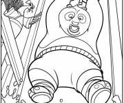 Coloring pages Kung Fu Panda and Po in hot water