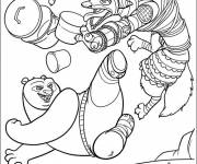 Coloring pages Kung Fu Panda combat of Po