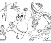 Coloring pages Kung Fu Panda Po and his friends