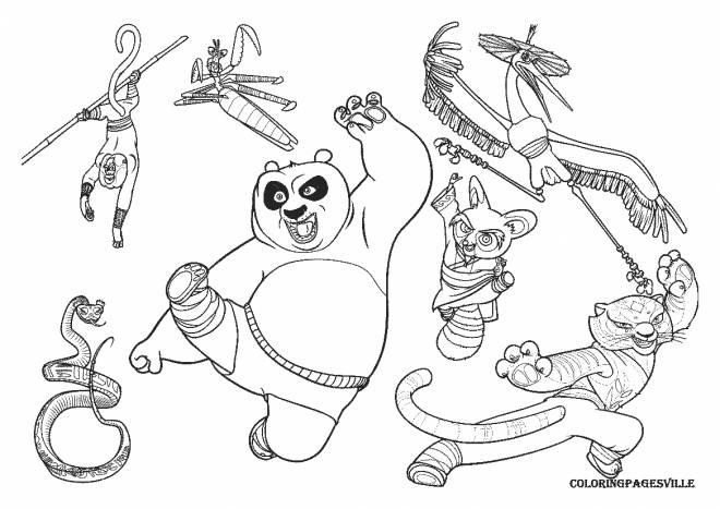 Free coloring and drawings Kung Fu Panda Po and his friends Coloring page