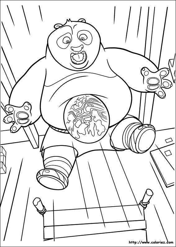 Free coloring and drawings Po surprised Kung Fu Panda Coloring page